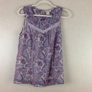 Lucky Brand Lace Paisley Purple Tank top Small